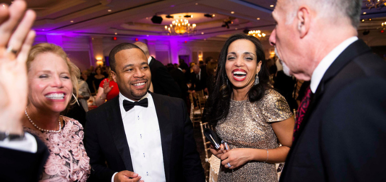 Guest in conversation at the Lombardi Gala